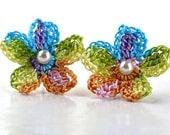Flower Crochet Earrings Stud Earrings Hypoallergenic Yellow Peach Pink Purple Blue Spring Green