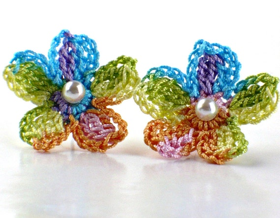 Flower Crochet Earrings Stud Earrings Hypoallergenic Yellow Peach Pink Purple Blue Spring Green