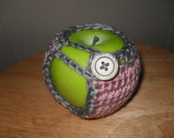 Crocheted apple cozy fruit cozy in heather gray grey and blush pink