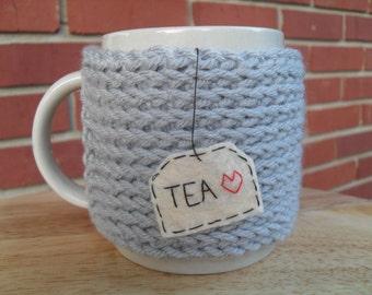 knitted tea mug cozy cup cozy in light grey gray