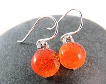 Simple Fused Glass Earrings - Midsummer Bonfire - Fiery Orange Earrings