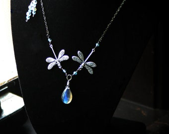 Midnight Summer's Dream: Labradorite Dragonfly Necklace With Aquamarine, Matching Earrings