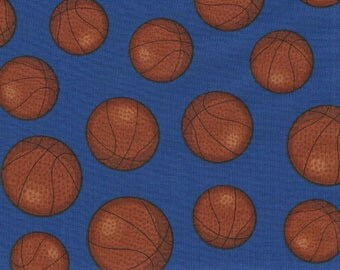 Blue Basketball Print 100% Cotton Quilting Fabric