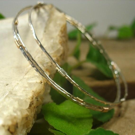Bangle Bracelet Sterling Silver Hammered & Wrapped - Bracelet Set, Silver Bangle Set, Minimal Bracelets, Gift Bracelet, Bangle Bracelet Set