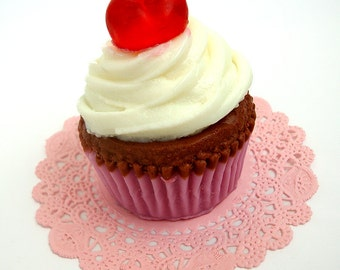 BIG CUPCAKE - Cherry on Top - Full Size Cupcake Soap