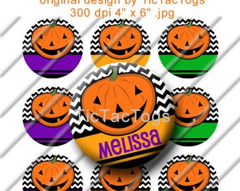 Instant Download - Editable Halloween Jack o Lantern Chevron ZigZag Bottle Cap Digital Art Collage Set 1 Inch Circle 4x6 JPEG Pumpkin
