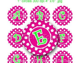 Pink Polka dot Lime Alpha Bottle Cap Digital Images Set 1 Inch Circle Alphabet A-Z 4X6 - Instant Download - BC367