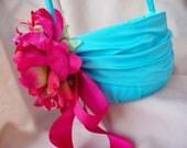 Aqua Pool Flower Girl Basket Fuchsia Pink Peony Wedding Silk