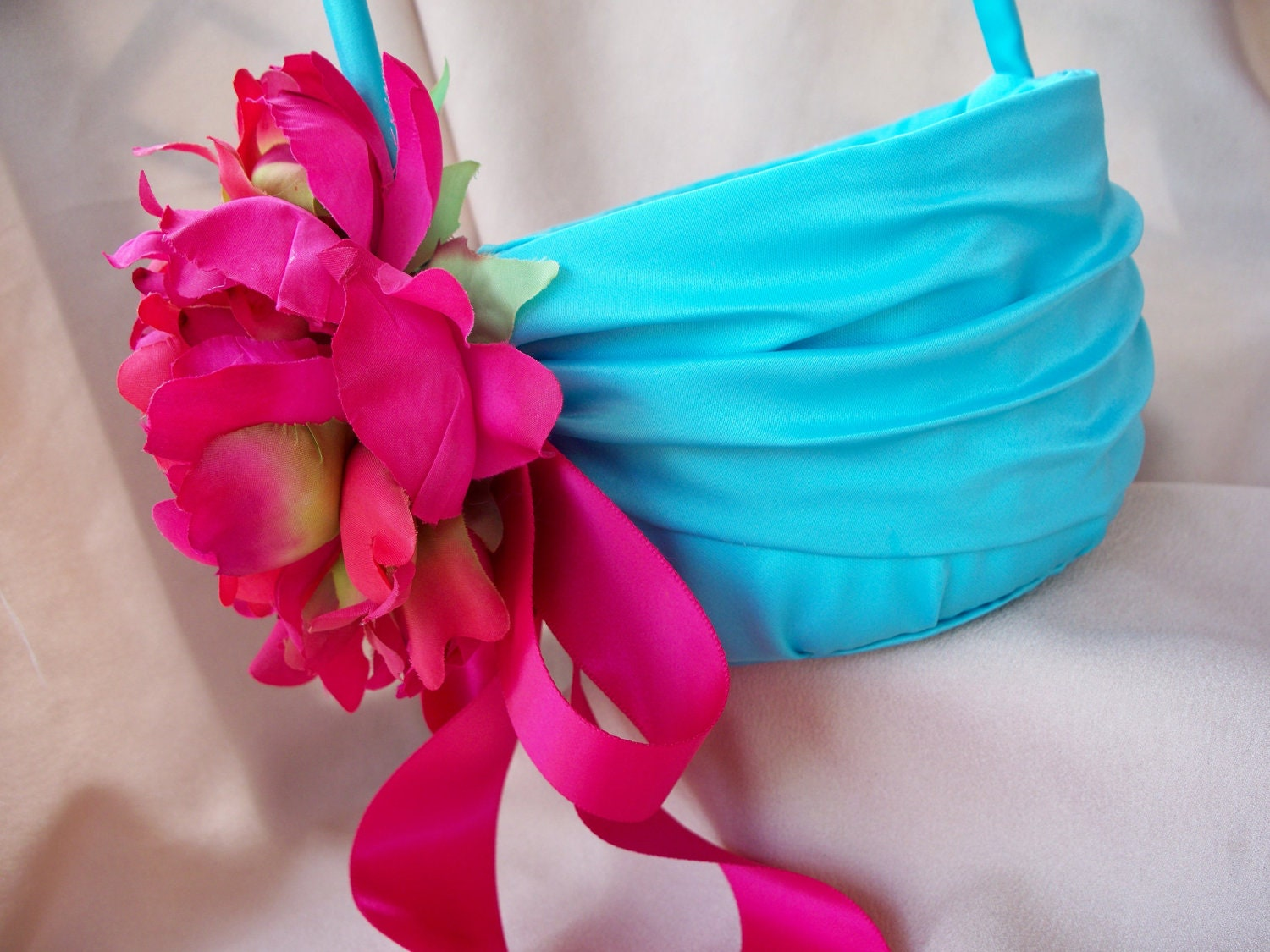 Turquoise Fuchsia Wedding: Aqua Pool Flower Girl Basket Fuchsia Pink Peony Wedding Silk