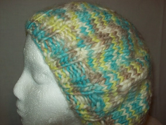 Beret Tam Cap Slouch Hat Wool Knit Multi-color Snappy Shades Soft Warm SALE Reduced 40%