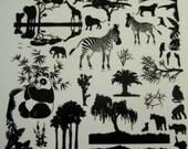 "Black Enamel Glass Fusing Decals, Fused Glass Decals, Fusing Decals, Fusible Glass Decals Serengeti 4"" Sheet"