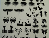 """Black Enamel Glass Fusing Decals, Fused Glass Decals, Fusing Decals, Fusible Glass Decals Animals and Insects Earring Size 4"""" Sheet"""