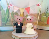 Cat Wedding Cake Topper with Bunting Banner and Birch Base