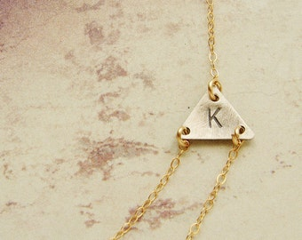 Personalized jewelry Layered Triangle Initial Necklace, Sideways initial, double layered chain simple dainty necklace gift for her