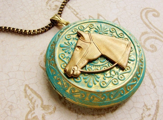 Horse locket necklace, equestrian Necklace, Turquoise green filigree locket derby horse necklace, horse head long necklace