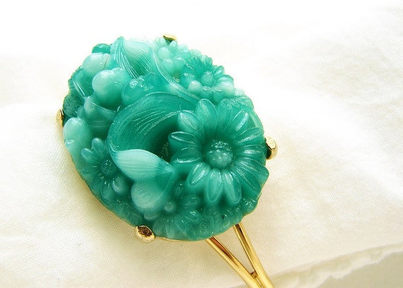 Vintage Jade Cuff OOAK carved emerald glass floral cameo gold bracelet cuff statement jewelry