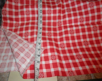 """Red and White Checkered Twill type Fabric - over 1 yard length x 37"""" wide"""