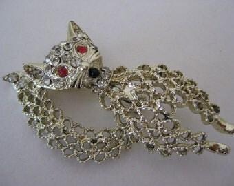 Cat Brooch Gold Rhinestone Filigree Vintage Pin Kitten