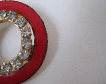 Red Gold Rhinestone Brooch Enamel Vintage Pin