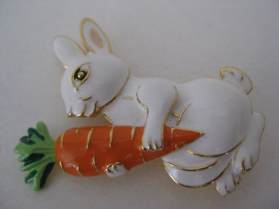 Rabbit Carrot Brooch White Orange Gold Vintage Pin