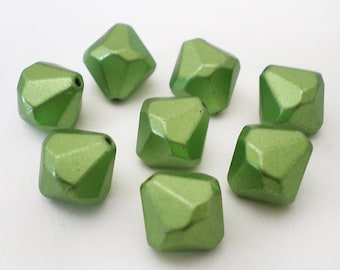 FINAL SALE - 12mm Faceted Green Acrylic bicone beads 12pcs