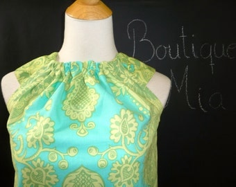 Ruffle Pillowcase DRESS or TOP - Amy Butler - Aqua and Lime - Made in ANY Size - Boutique Mia
