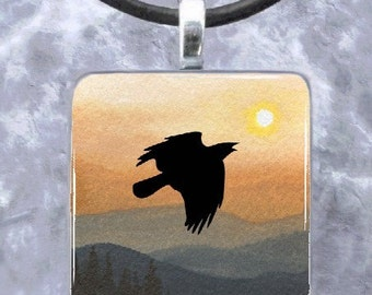 Landscape 364 Crow Raven Art Glass Pendant 1x1 Jewelry Necklace from art painting by L.Dumas