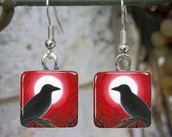 Bird 62 Crow Raven Red Art Glass Earrings from painting by L.Dumas