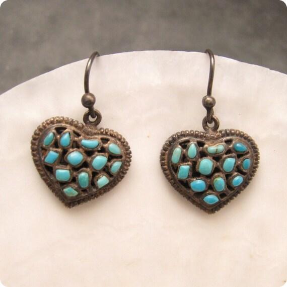 Sterling Turquoise Heart Earrings Barse E4780