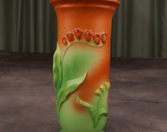 Stunning Trico Lilies of the Valley Vase in In Brick Red and Green