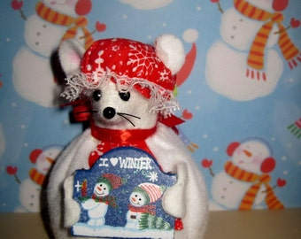 Felt Mouse Dressed as a Snow Woman!  NEW LOWER PRICE