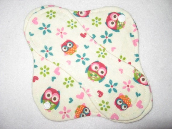 """Cloth panty liner 8"""" with cute owls"""