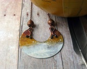 Ombre Necklace - Copper, Mustard, Brown, Ivory Pendant - Tribal - Rustic Patina - Gradient Autumn Fall Fashion - African - Gift Box