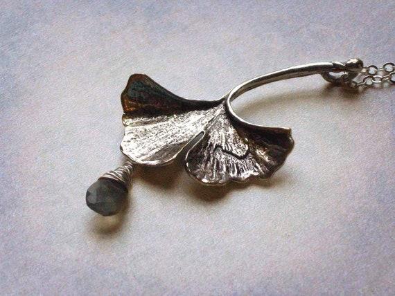 Ginkgo Leaf Pendant - Antiqued Silver Ginkgo Biloba Leaf Necklace, Labradorite Raindrop Faceted Teardrop - Gift Box