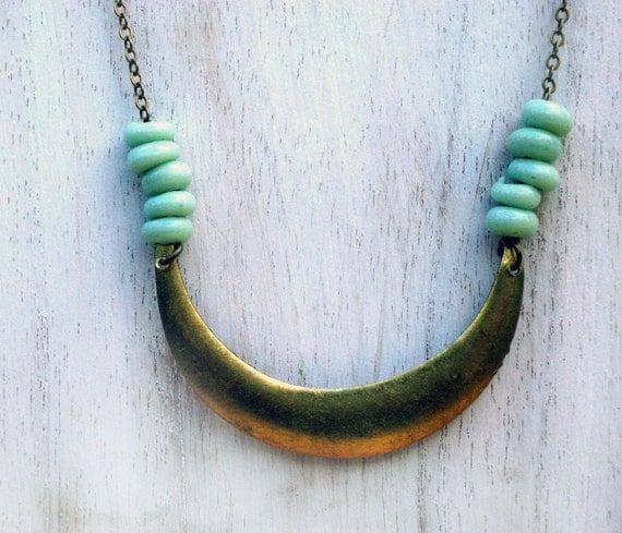 Tribal Inspired Crescent Moon Necklace - Mint Aquamarine Green - Gold Brass, Geometric  Gift Box