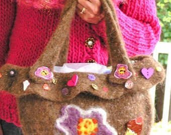 Button, Button, Who Has the Button - A Cupcake Shaped, Medium Sized Felted Bag Enhanced with Buttons