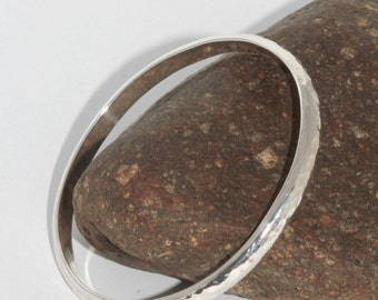 Beautiful handmade Sterling silver, Organic 6mm wide solid heavy Bangle made by Norita Designs
