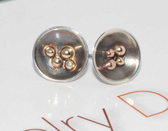 Organic unique Sterling silver and 9k gold stud/post earrings made by NoritaDesigns