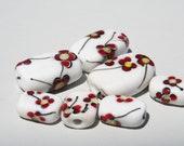 Handmade Lampwork Beads- Poppies - 062  DaNe Glass