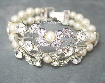 Wedding Cuff Bracelet, Rhinestone Bridal Bracelet, Swarovski Wedding Bracelet, Ivory Pearl Wedding Jewelry, Bridal Jewelry