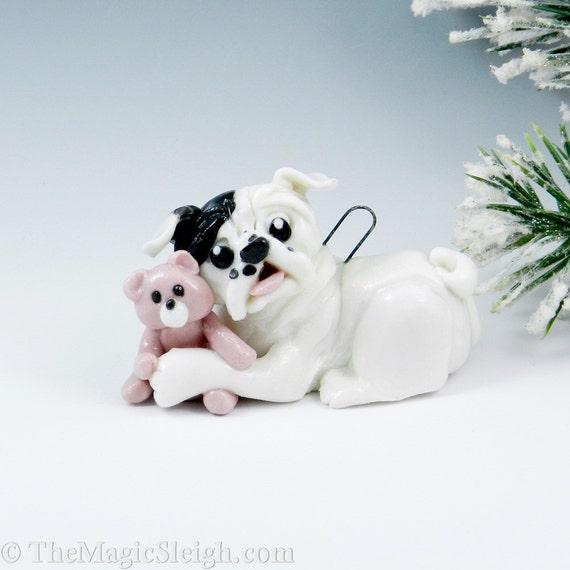 English Bulldog Christmas Ornament Figurine teddy bear Porcelain