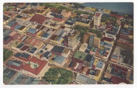 Aerial View of Main Business Section Savannah, Georgia Postcard, Postmarked 1954