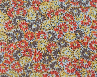 Little Fall Daisies - Vintage Fabric New Old Stock Juvenile 50s 36 in wide Orange Gold Brown