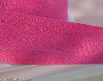 3 yards of Mod Vintage Trim -  60s 70s New Old Stock Woven Fuscia Pink Straps Belts