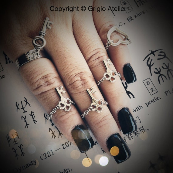 Skeleton Key Mid Finger Ring - Rhodium - Made To Order