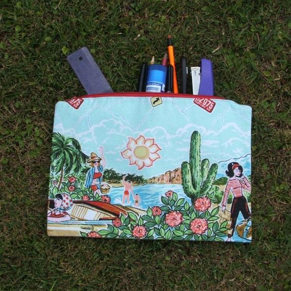 Retro road trip aqua lilac pencil case or zipped pouch, cotton, lined, large