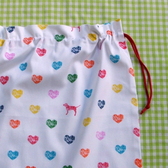 Drawstring bag coloured hearts and dog large cotton for library toys school storage