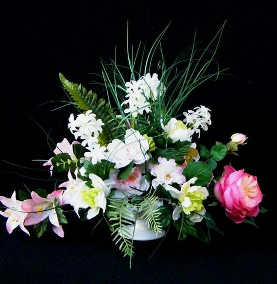 Cottage Chic Silk Floral Arrangement, Cabbage Rose, Tiger Lilies, Peonies, Garden Greens