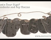 Zodiac Earth Astrological Sign Hand Stamped Dog Tag Pendant Custom Silver Metal