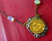 salvaged antique vintage toy necklace money coin